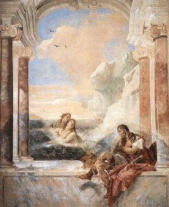 Giovanni Battista Tiepolo Tetis consolant Aquil·les  (per la mort de Patrocle).      Fresc.     1757 Villa Valmarana. Vicenza, Itàlia