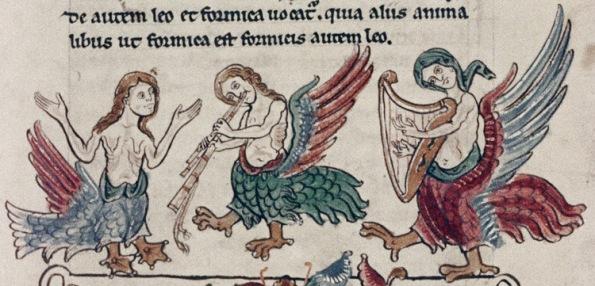Sirenes MS Bodley 602, folio 10r